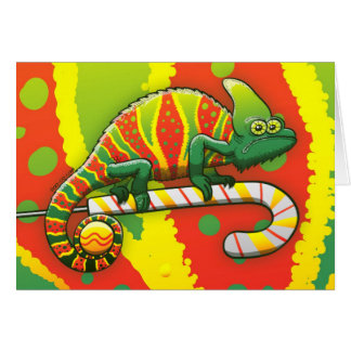 Christmas Chameleon Walking on a Candy Cane Greeting Card
