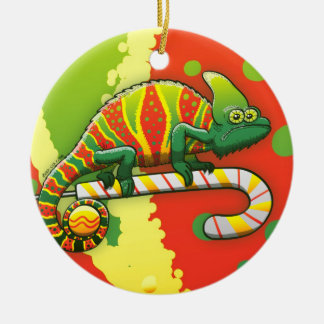 Christmas Chameleon Walking on a Candy Cane Round Ceramic Ornament