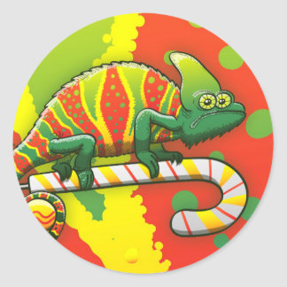 Christmas Chameleon Walking on a Candy Cane Round Sticker