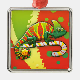 Christmas Chameleon Walking on a Candy Cane Silver-Colored Square Ornament