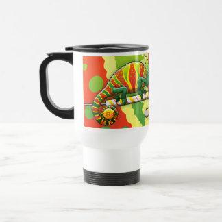 Christmas Chameleon Walking on a Candy Cane Travel Mug