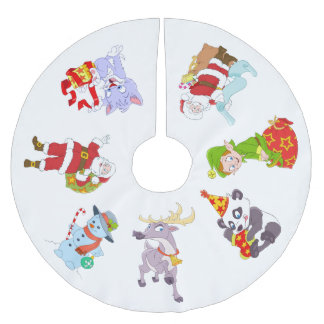Christmas Characters for Children Brushed Polyester Tree Skirt