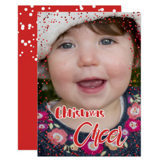 Christmas Cheer Confetti Photo Holiday Greeting Card