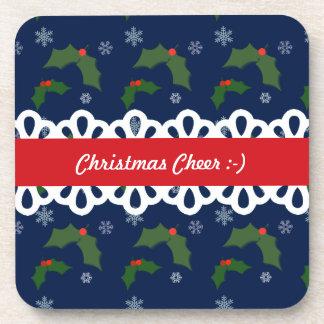 Christmas Cheer Holly Berries Pattern Drink Coasters