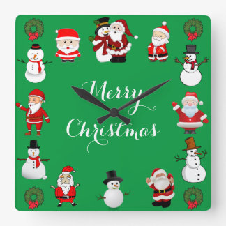 Christmas Cheer Square Wall Clock