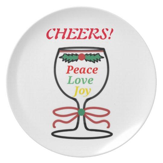 Christmas Cheers, Wine Glass Plate