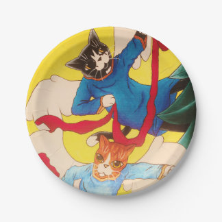 Christmas Cherub Angel Cats Paper Plate