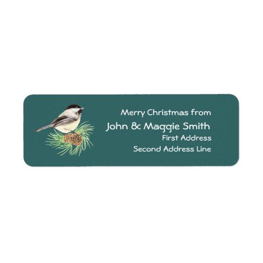 Christmas Chickadee Address Name Label Customize Return Address Label