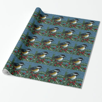 Christmas: Chickadee, Pine Branch, Snow: Art Wrapping Paper