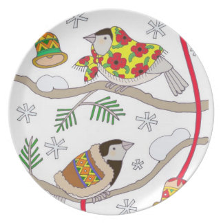 Christmas Chickadees Plates