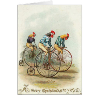 Christmas - Chickens Riding Penny-Farthings Card