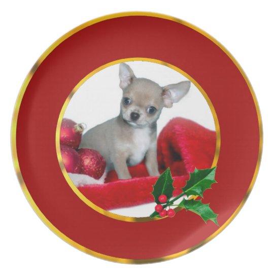 Christmas Chihuahua dog Plate