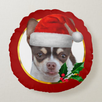 Christmas Chihuahua dog Round Pillow
