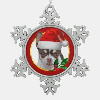Christmas Chihuahua dog Snowflake Pewter Christmas Ornament