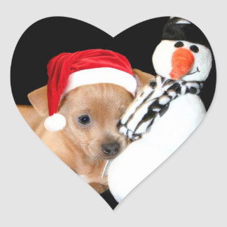Christmas Chihuahua Heart Sticker