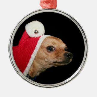 Christmas Chihuahua Metal Ornament