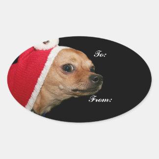 Christmas Chihuahua Oval Sticker
