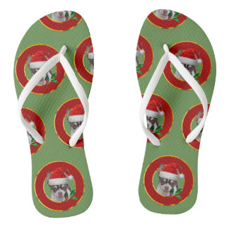 Christmas Chihuahua  personalized flip flops