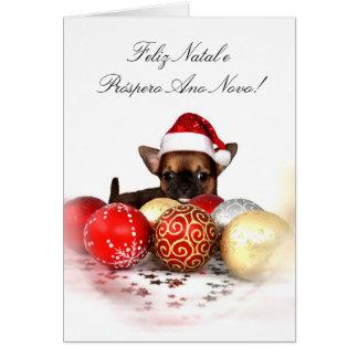 Christmas chihuahua puppy greeting card