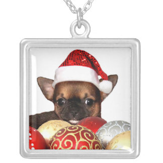 Christmas chihuahua puppy silver plated necklace
