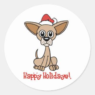Christmas Chihuahua Round Sticker