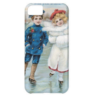 Christmas, Children ice skating iPhone 5C Cover