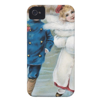 Christmas, Children ice skating iPhone 4 Case-Mate Case