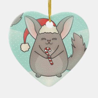 christmas chinchillas ceramic heart ornament