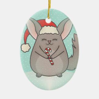 christmas chinchillas ceramic oval ornament