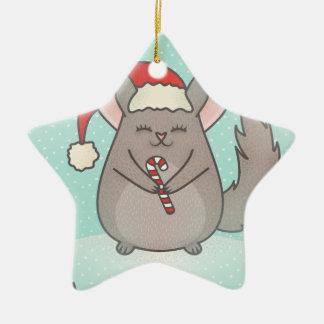 christmas chinchillas ceramic star ornament