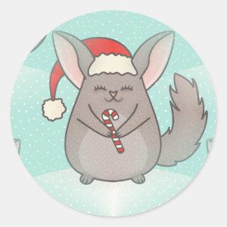 christmas chinchillas classic round sticker