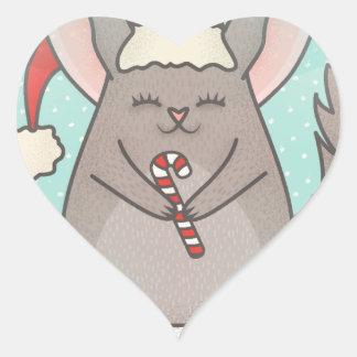 christmas chinchillas heart sticker