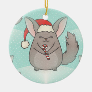 christmas chinchillas round ceramic ornament