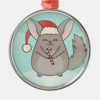 christmas chinchillas Silver-Colored round ornament