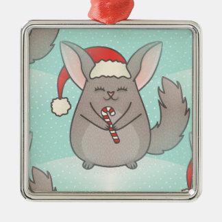 christmas chinchillas Silver-Colored square ornament