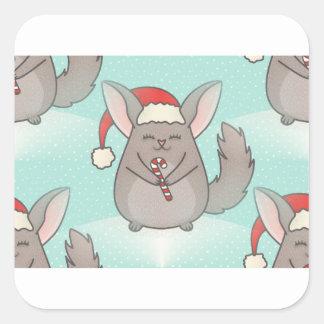 christmas chinchillas square sticker
