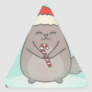 christmas chinchillas triangle sticker