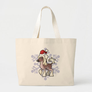 Christmas Chinese Crested (hairless) Large Tote Bag