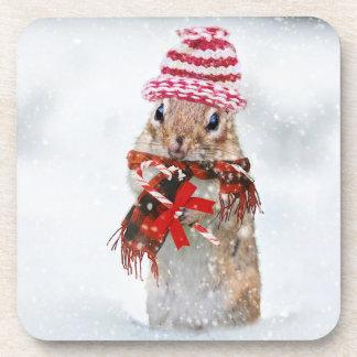 Christmas chipmunk coaster