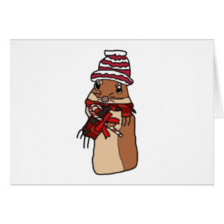 Christmas Chipmunk Hamster Gerbil Cartoon Drawing Card
