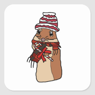 Christmas Chipmunk Hamster Gerbil Cartoon Drawing Square Sticker