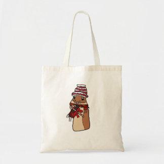 Christmas Chipmunk Hamster Gerbil Cartoon Drawing Tote Bag