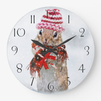 Christmas chipmunk large clock
