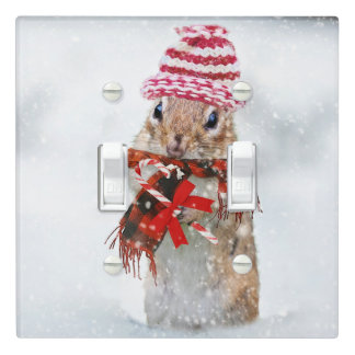 Christmas chipmunk light switch cover