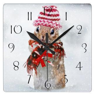 Christmas chipmunk square wall clock
