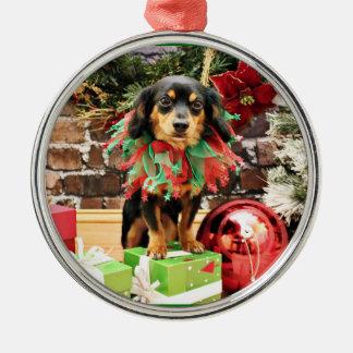 Christmas - Chiweenie - Titus Metal Ornament