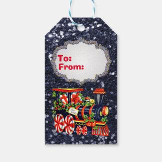 Christmas Choo Choo Train Blue Faux Glitter Gift Tags