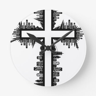 Christmas christ cross round clock
