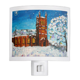Christmas Church Landscape Painting Night Light