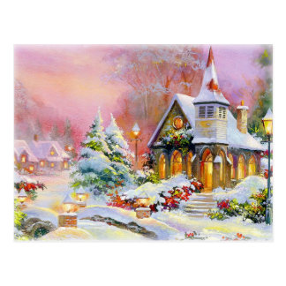 Christmas Church Postcard
